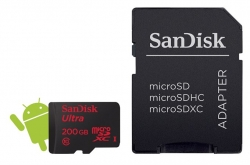 SanDisk Ultra microSDXC 200 GB 90 MB/s Class 10, Android, Adaptér