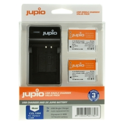 Jupio Kit: 2x Battery Li-90B/Li-92B 1270mAh + USB Single Charger